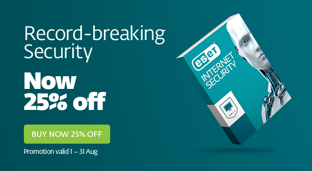 25% Off ESET                 Internet Security Promo